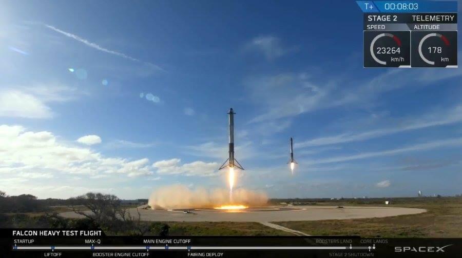 Первый запуск тяжелой ракеты-носителя Falcon Heavy состоялся во Флориде. Фото: Facebook/Mustafa Nayyem/Эль Мюрид/Сергей Шварацкий
