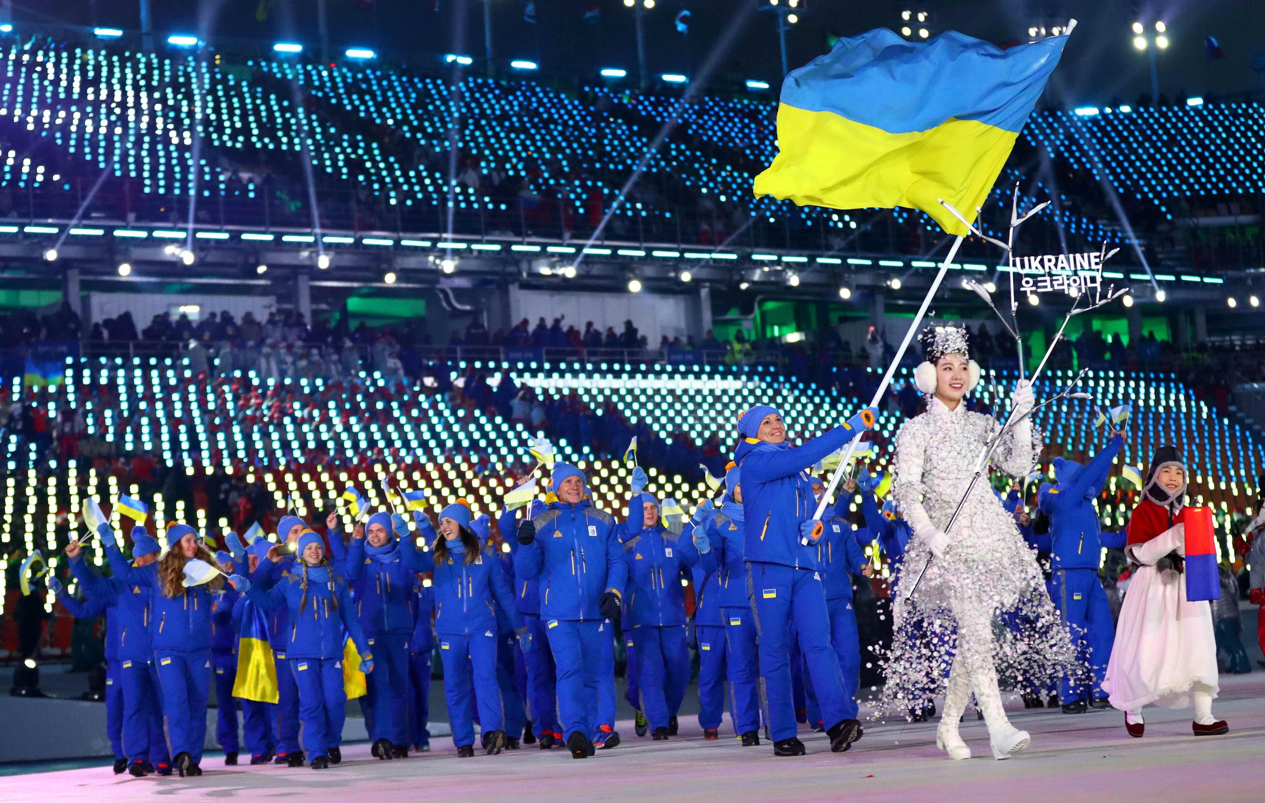 Делегация украинских спортсменов на открытиии Олимпиады.