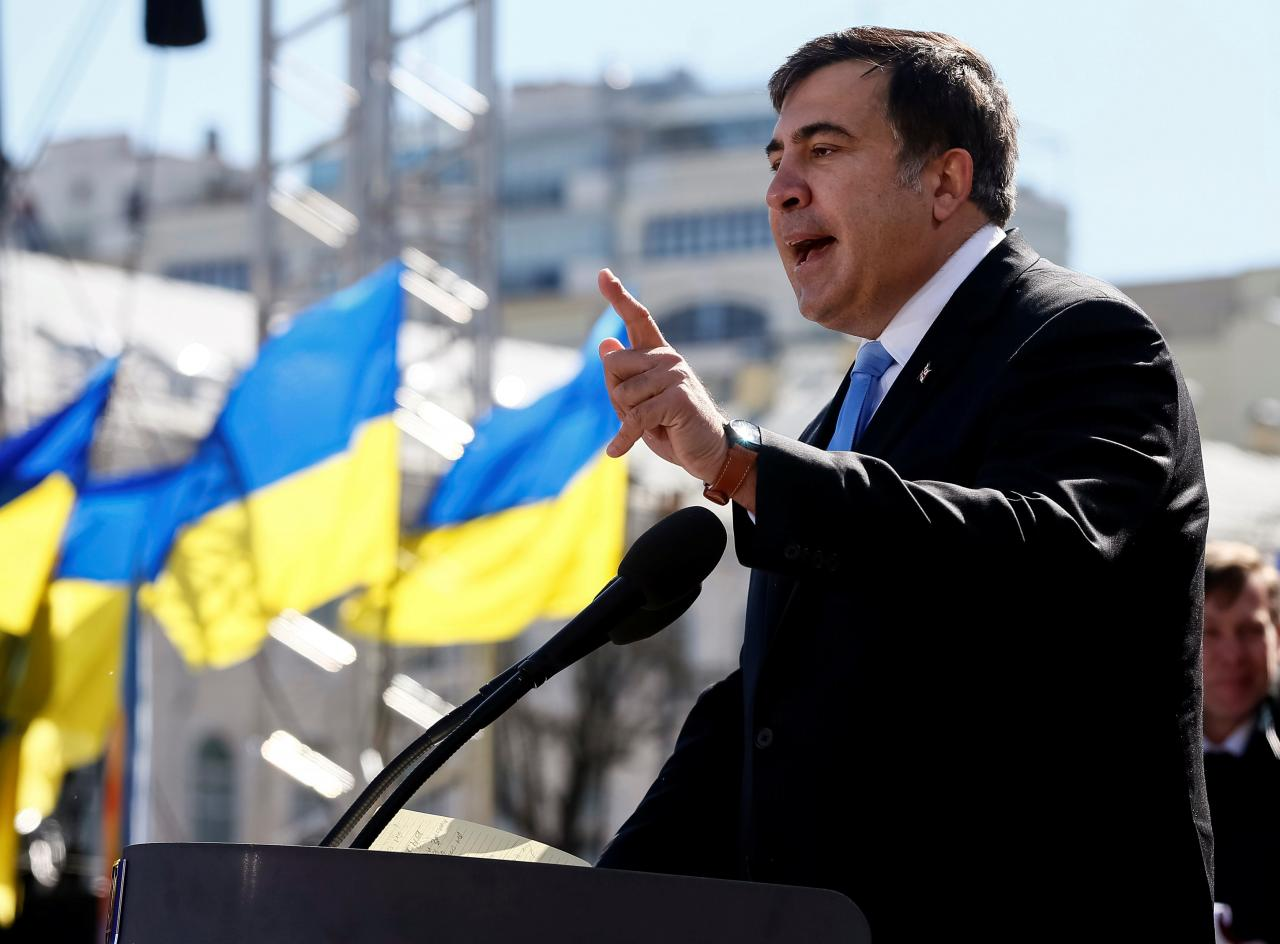 Михеил Саакашвили во время митинга
