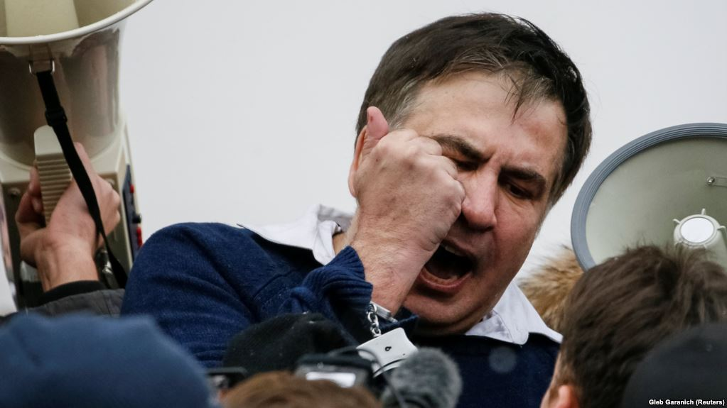 Михеил Саакашвили во время задержания в декабре 2017 года.