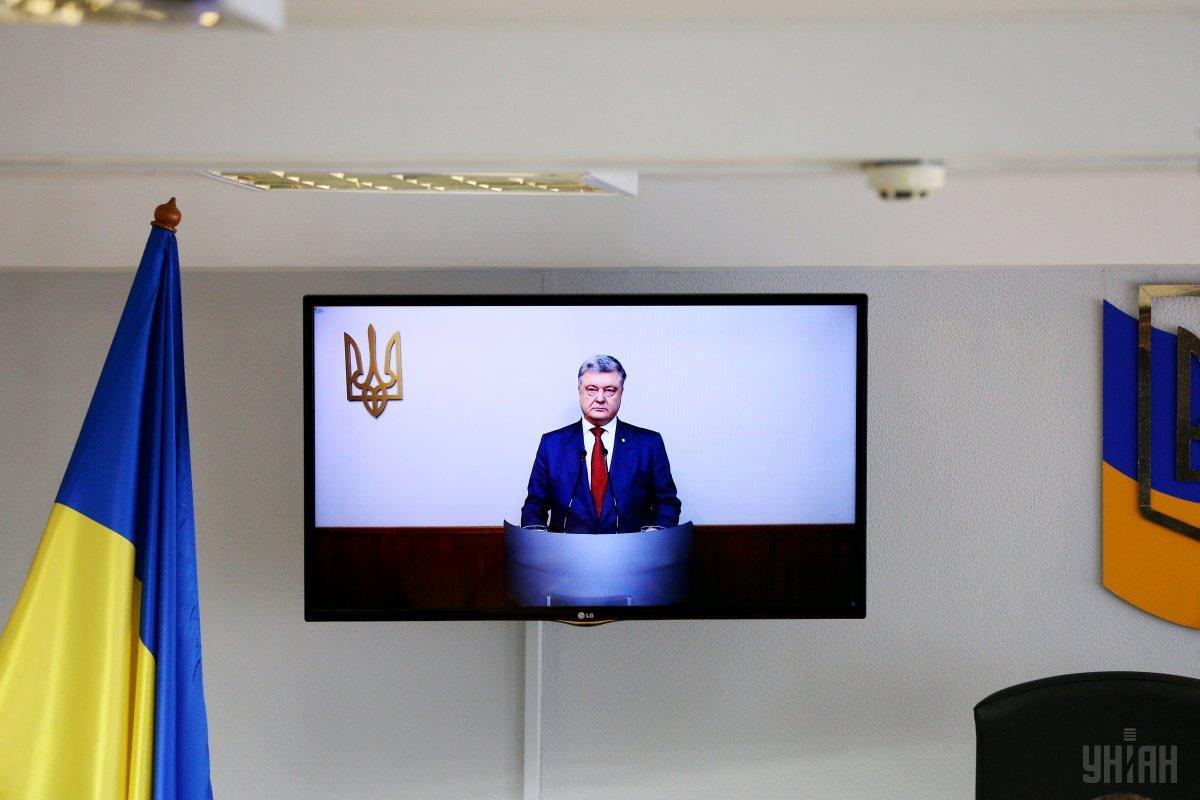 Петр Порошенко во время допроса по видеосвязи