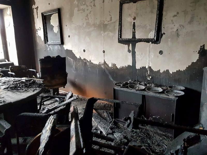 Последствия пожара в офисе KMKSZ в Ужгороде