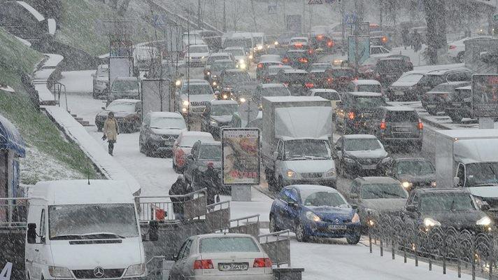 киев, пробка, снег