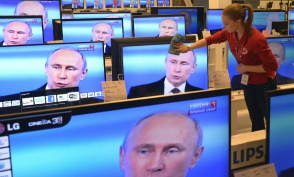 Телетрансляция выступления Путина в магазине бытовой техники