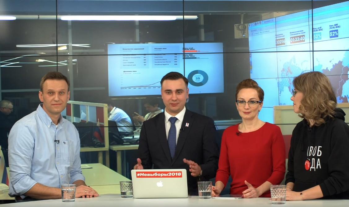 Алексей Навальный и Ксения Собчак на дебатах после выборов. Кадр из видео.