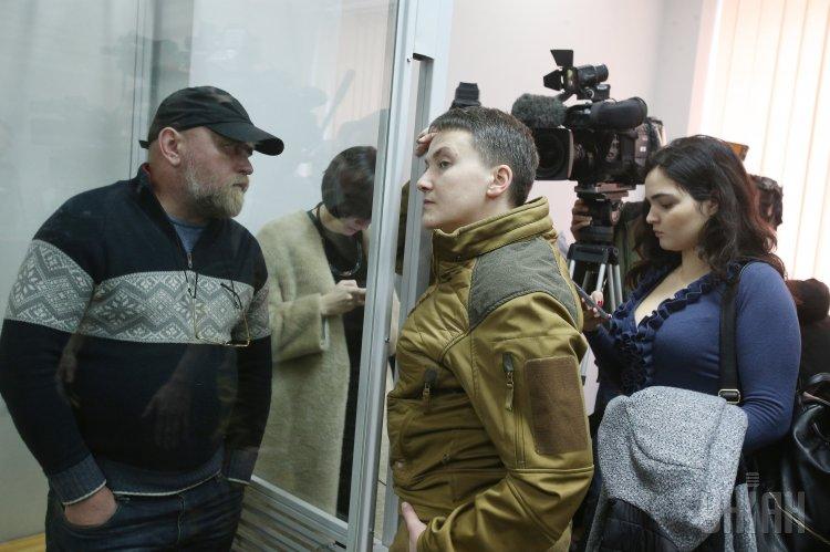 Владимир Рубан и Надежда Савченко в зале суда