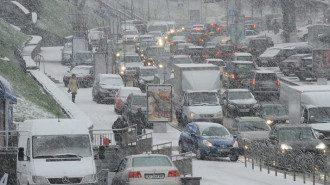 Київ, пробка, сніг
