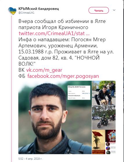 / Фото: скрин Twitter/Крымский бандеровец
