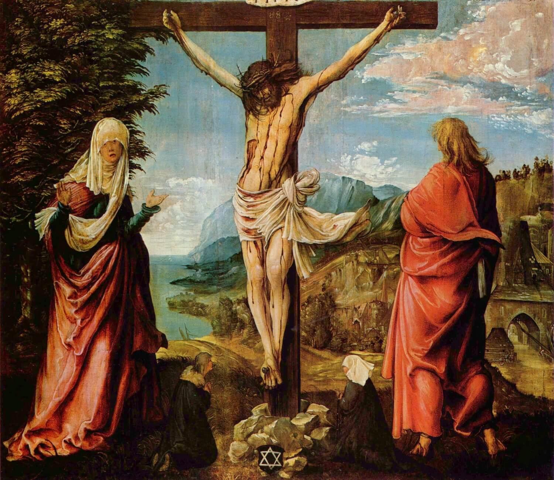 Распятие. Христос на кресте, Мария и Иоанн. Альбрехт Альтдорфер