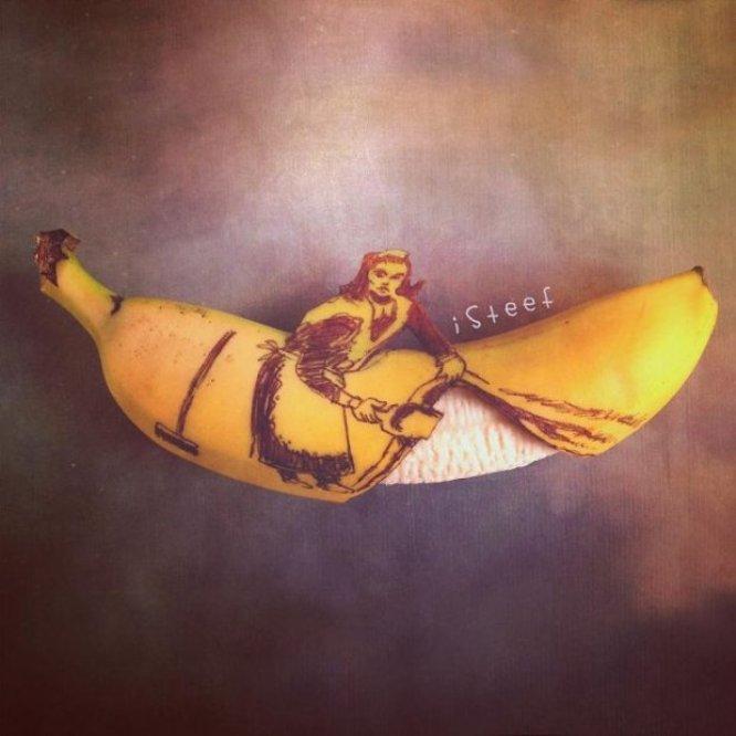 Художник делает шедевры из обычных бананов