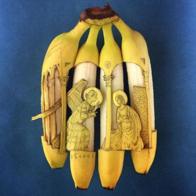 Художник из Нидерландов делает из шкурок бананов шедевры: фото