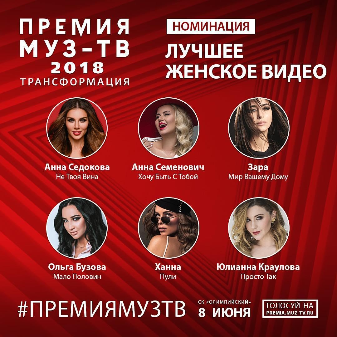 Седокова номинирована с клипом