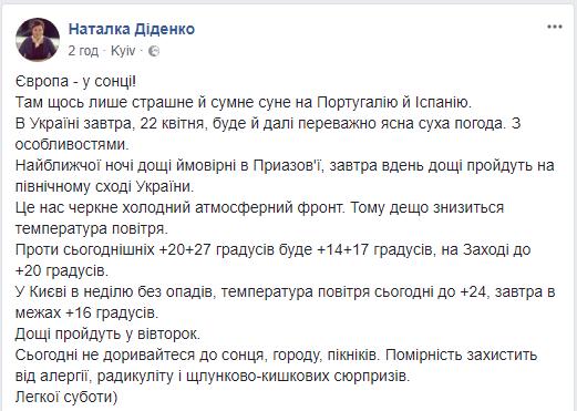 В Киеве в начале следующей недели пройдут дожди, спрогнозировала синоптик
