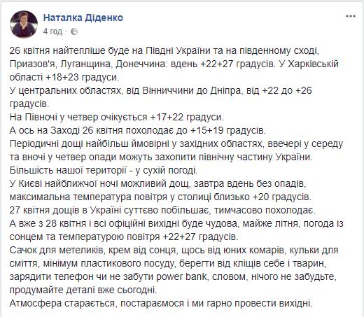 В Украине 27 апреля станет существенно больше дождей, предупредила синоптик