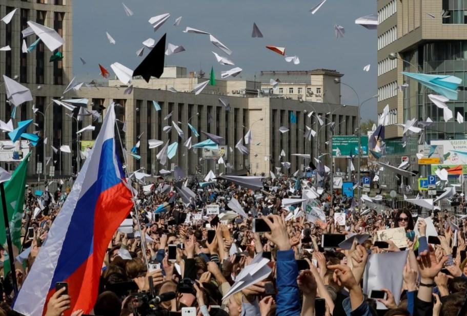 Акция в Москве 30 апреля 2018 года против запрета Telegram.