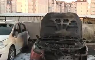 Под Киевом сгорели пять машин