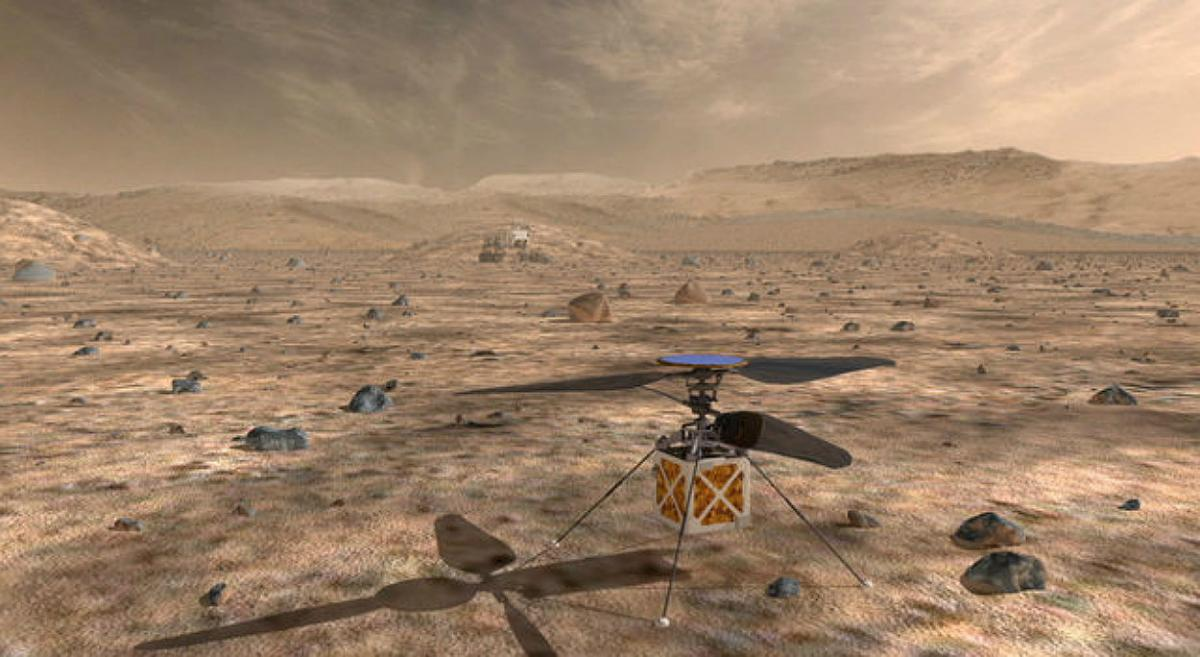 Двойной винт Mars Helicopter способен вращаться со скоростью в 10 раз больше обычной