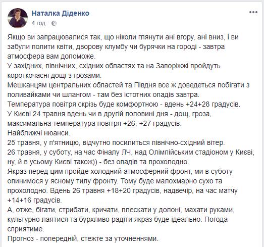 В день финала Лиги чемпионов в Киеве будет прохладно, спрогнозировала эксперт