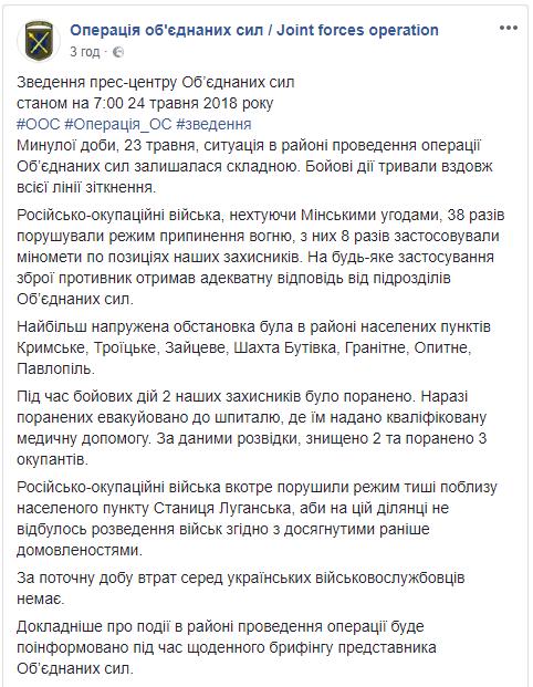 На Донбассе, по данным разведки, за сутки были уничтожены два боевика