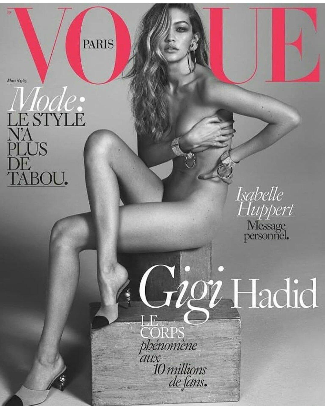 Хадид позировала обнаженной для парижского Voguе