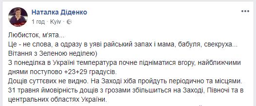 В Украине скоро будет почти +30 градусов, спрогнозировала синоптик