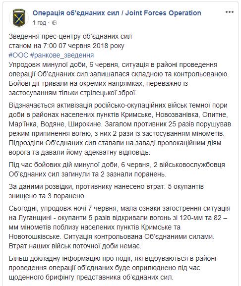 Вчера на Донбассе, по данным разведки, боевики понесли потери