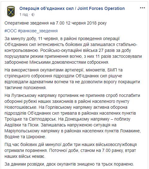 Вчера на Донбассе, по данным разведки, были уничтожены два боевика