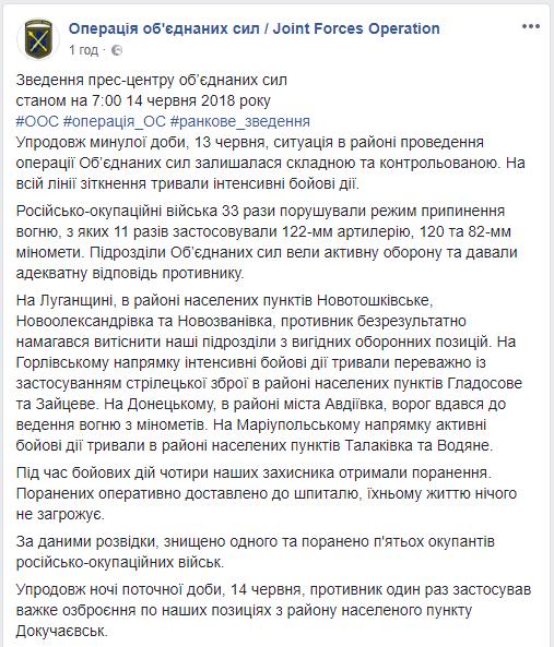 Вчера на Донбассе, по данным разведки, был уничтожен один боевик