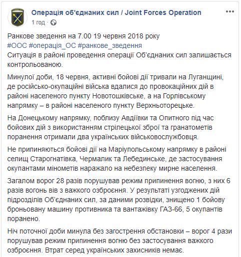 Вчера на Донбассе, по данным разведки, была уничтожена техника боевиков