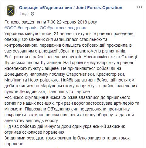 Вчера на Донбассе, по данным разведки, уничтожены три боевика