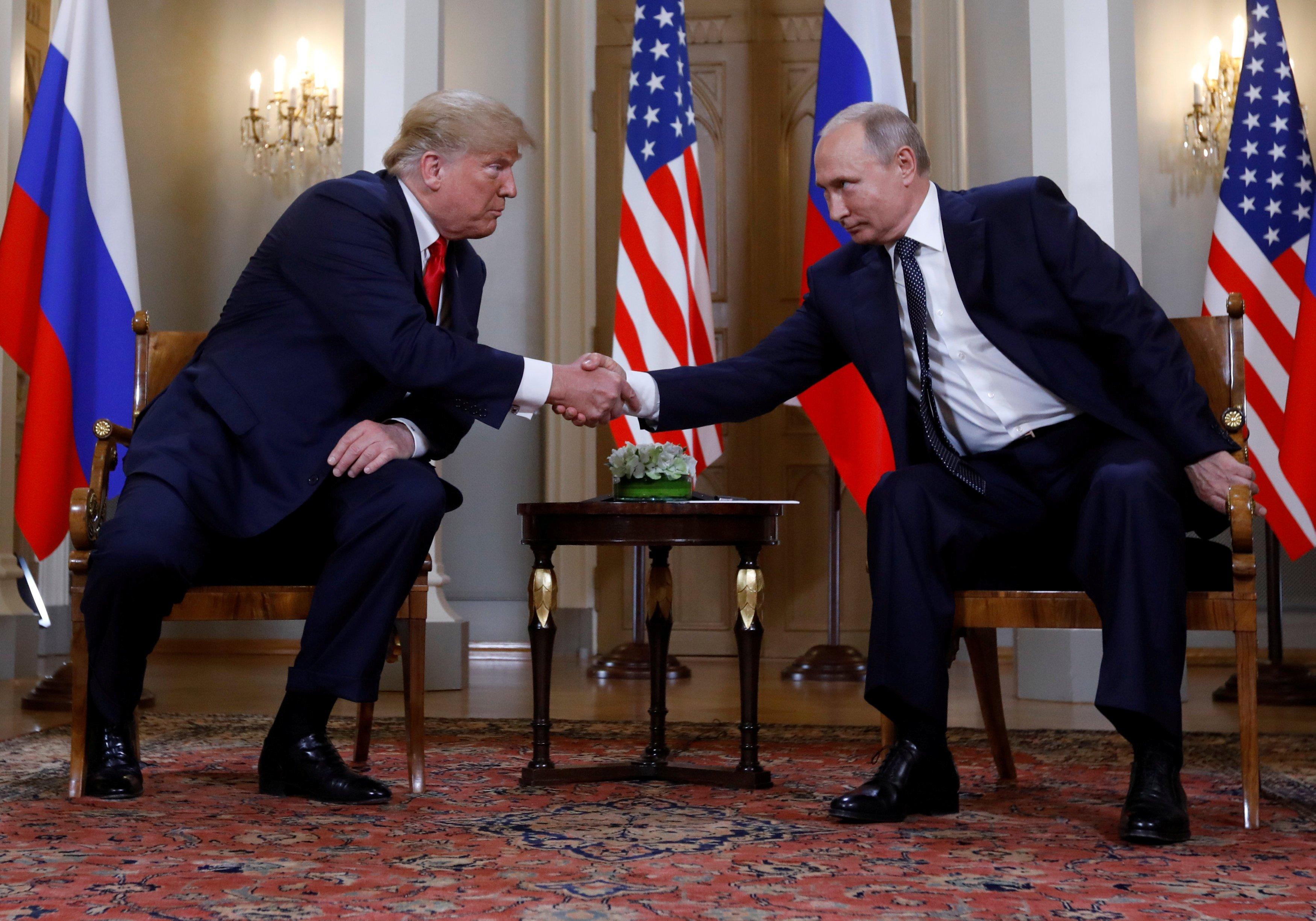 Дональд Трамп и Владимир Путин в Хельсинки