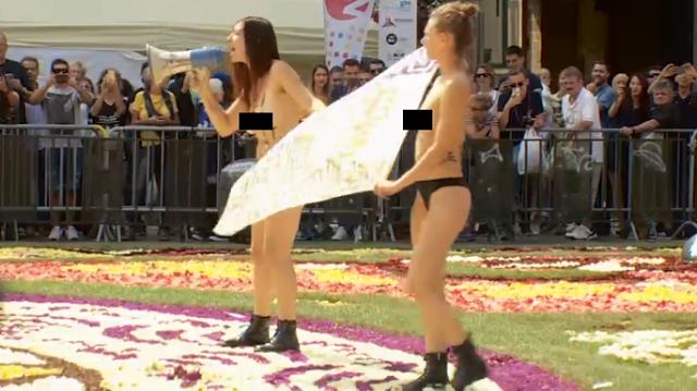 Протест Femen в Брюсселе