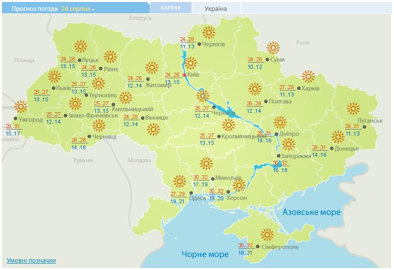 В Укргидрометцентре спрогнозировали, что в Киеве в День независимости будет солнечная погода