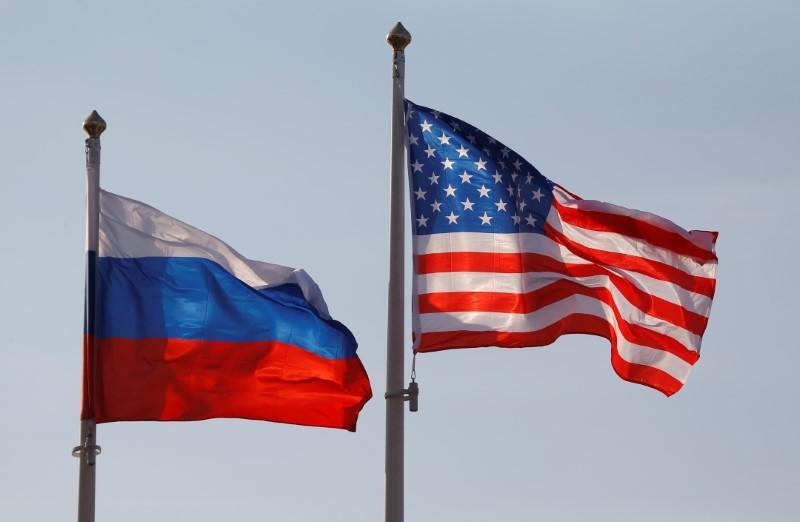 Флаги США и РФ