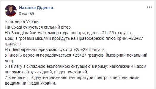 Синоптик спрогнозировала, что на юге Украины ощутимо снизится температура