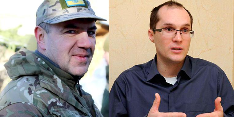 Волонтер Роман Доник (слева) и журналист Юрий Бутусов