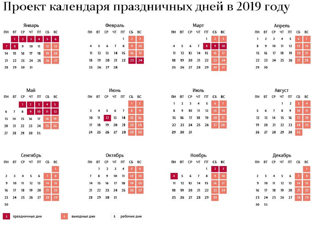 В России утвержден производственный календарь-2019