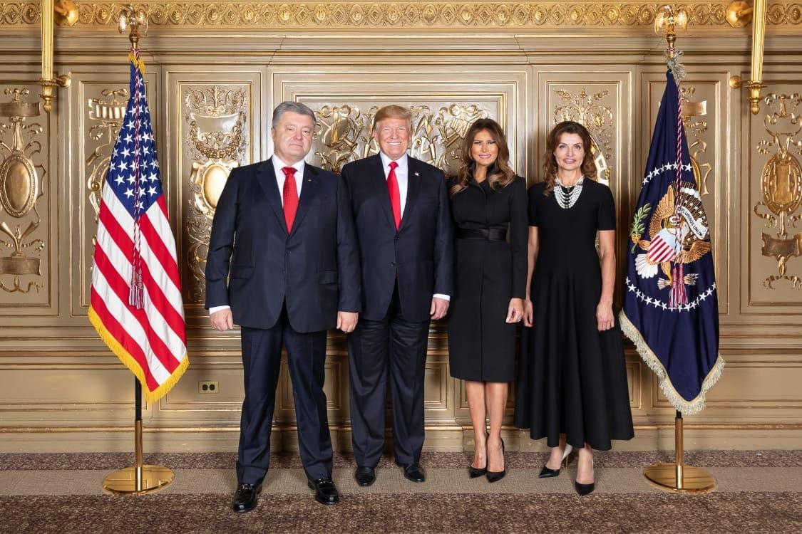 Петр Порошенко и Дональд Трамп - в одинаковых галстуках