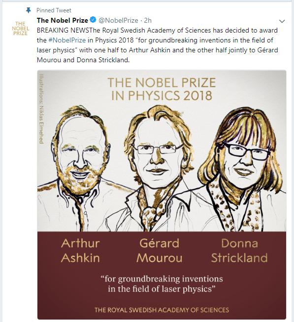 Нобеля по физике присудили Артуру Ашкину, Жерару Муру и Донне Стрикленд