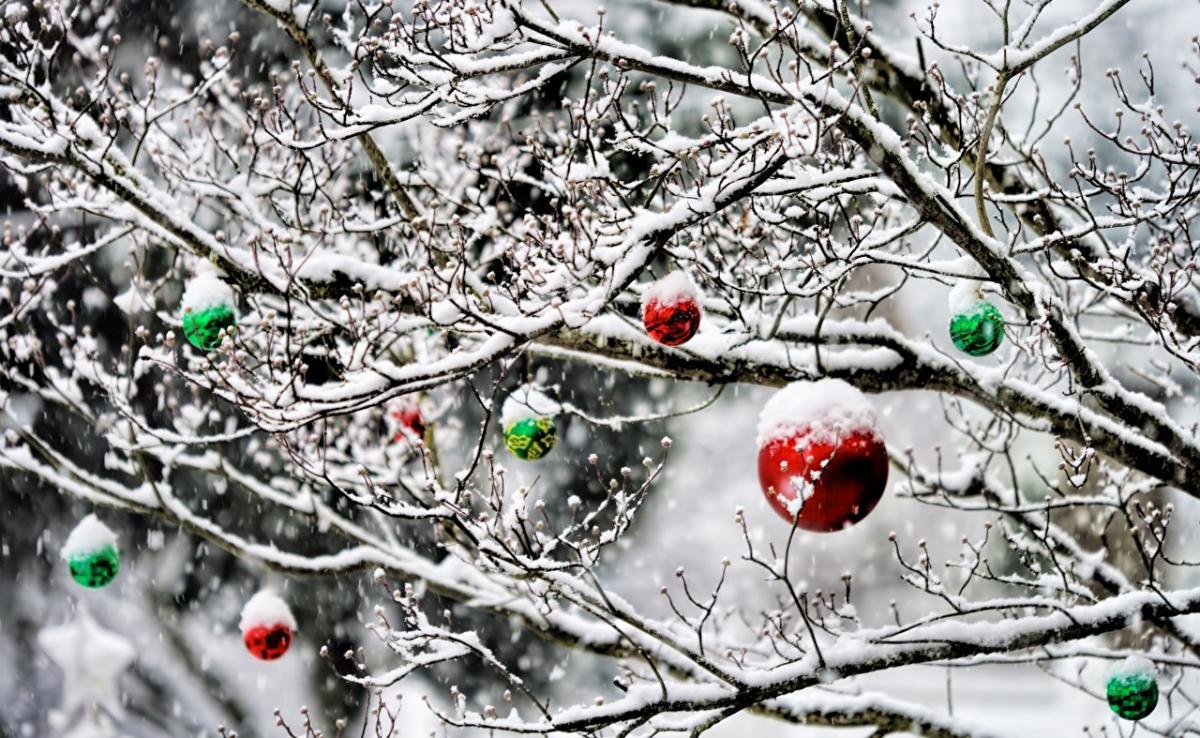 Новый год_снег_шарики