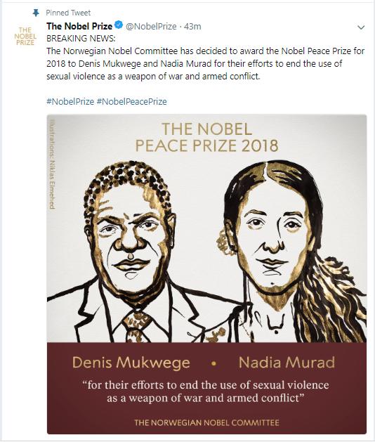 Денис Муквеге и Надя Мурад стали лауреатами Нобелевской премии мира