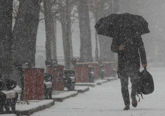 Киев,зима,снег,зонт