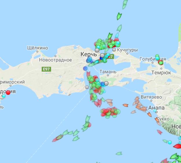 Ситуация в Керченском проливе / marinetraffic.com