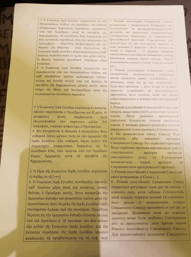 Проект устава автокефальной церкви Украины