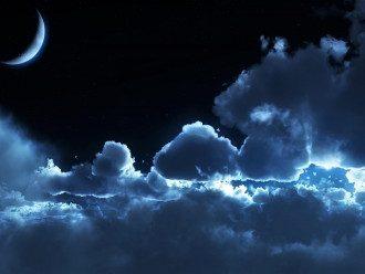 новолуние_Луна_небо_облака_ночь_лунный свет