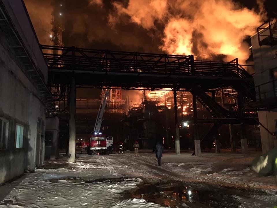 Наукраинском нефтехимическом заводе произошел пожар