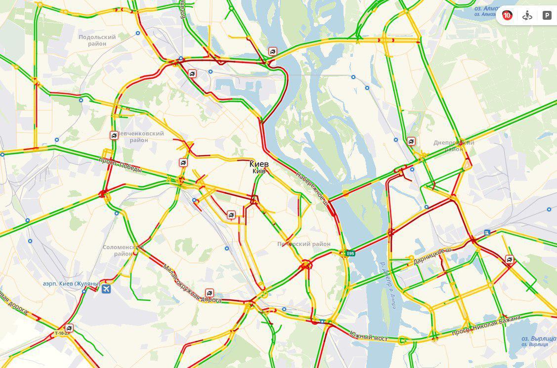 Пробки в Киеве вечером 23 января / Google Maps