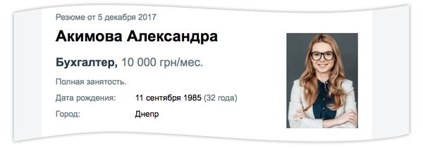 Резюме: образец на русском