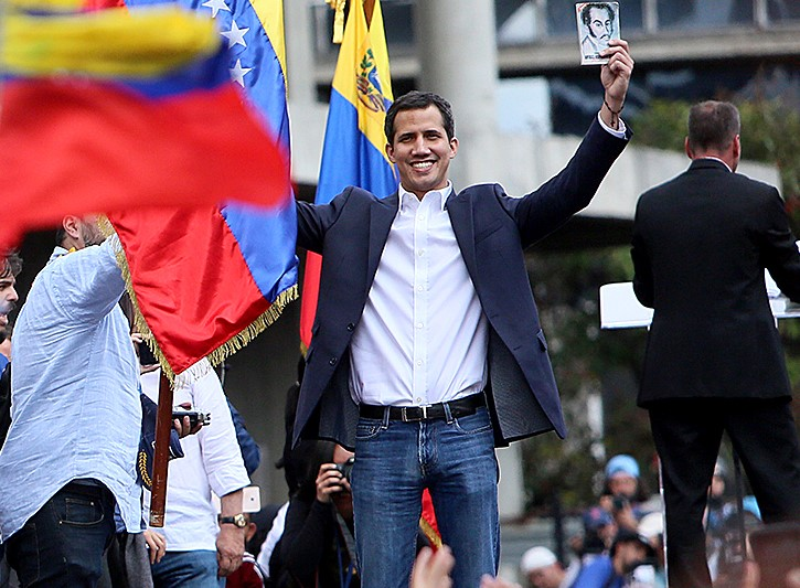 Хуан Гуайдо на антиправительственном митинге в Каракасе