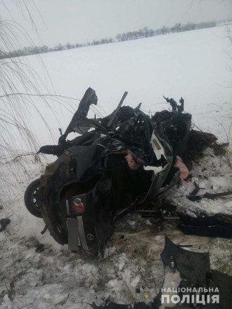 Опубликовано видео момента ДТП на Николаевщине с восемью жертвами